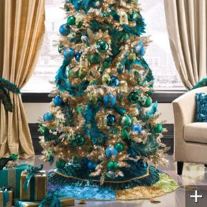 рождественская елка голубые и бирюзовые шары