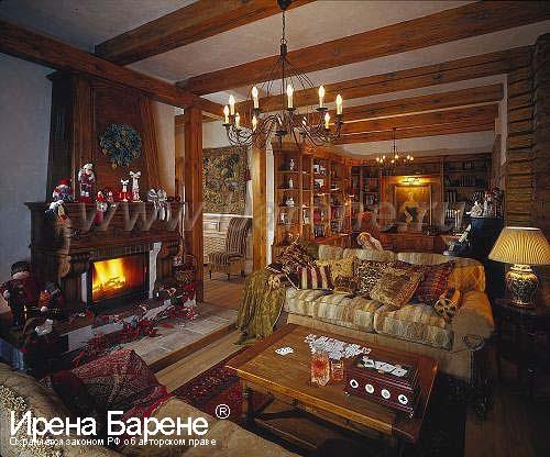 Гостиная в доме в стиле шале диайнер Барене
