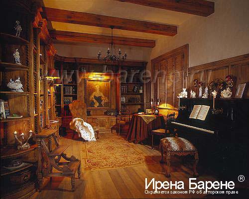 Гостиная с пианино в доме в стиле шале диайнер Барене