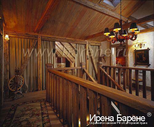 Лестница в доме в стиле шале дизайнер Барене
