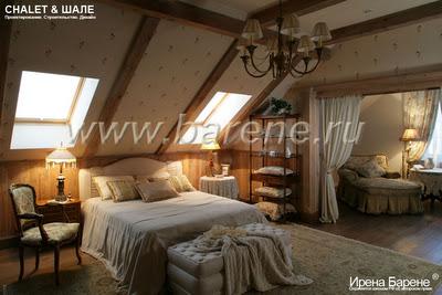 Спальня дома в стиле шале дизайнер Барене