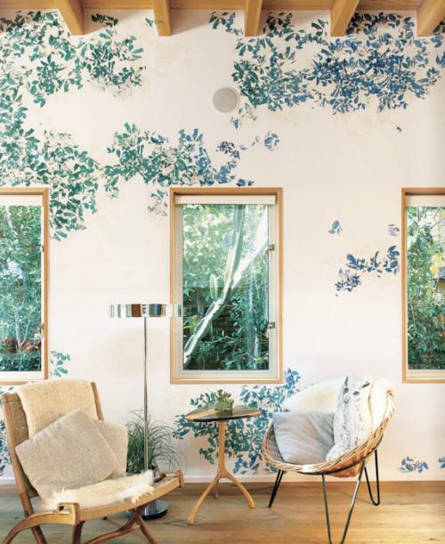 роспись стен имитация листвы