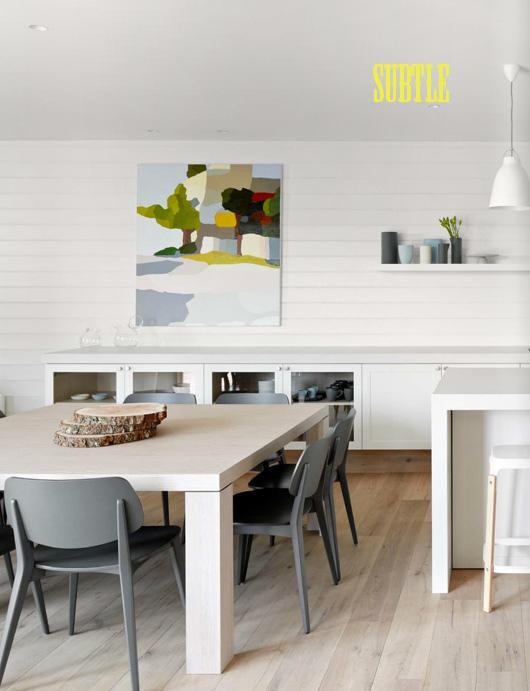 белая кирпичная стена в современной столовой