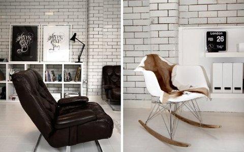 некрашенные белые кирпичные стены в современном интерьере