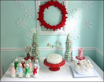 рождественский декор в детской - красный на бледно-голубом