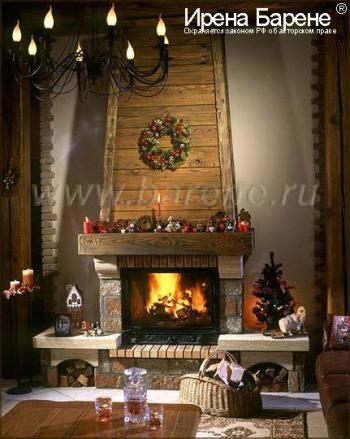 Камин в гостиной в доме в стиле шале дизайнер Барене