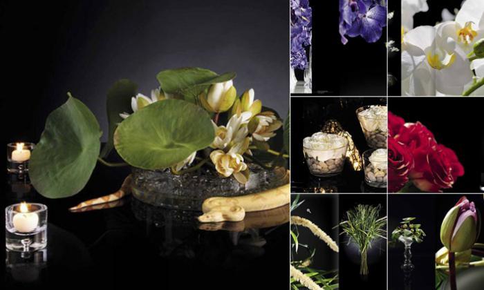 различные искусственные цветы, бутоны и листья VG
