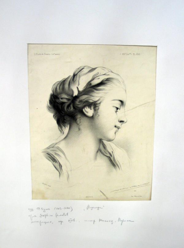гравюра с блошиного  рынка - голова девушки