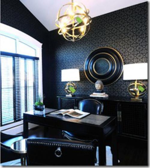 черный цвет в кабинете в стиле ардеко
