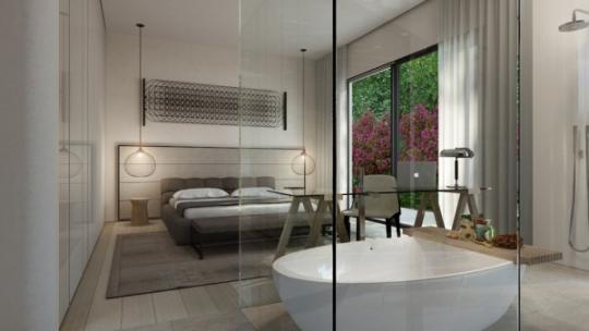 ванна за перегородкой в спальне 1